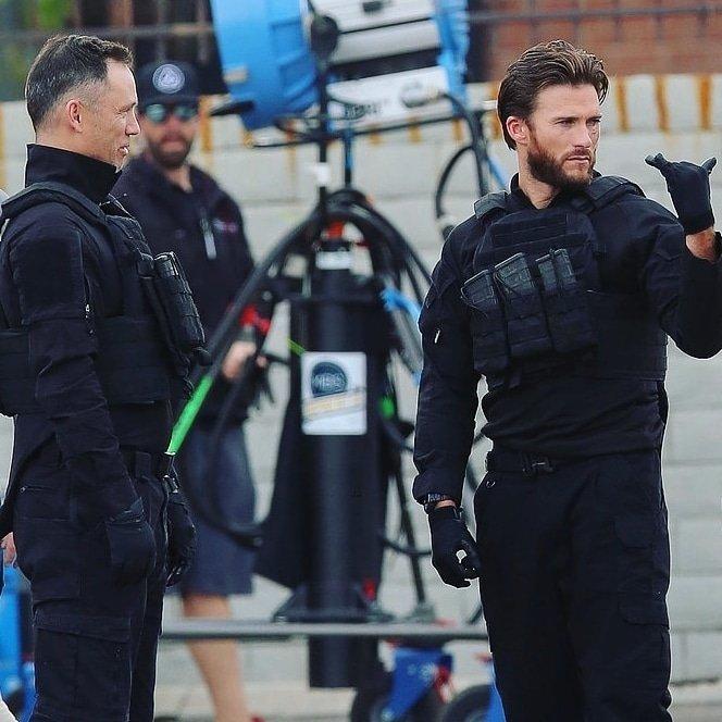 Скотт Иствуд на съемках экшн-триллера Гнев человеческий