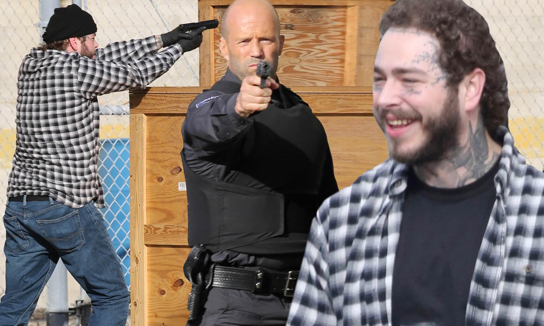Post Malone и Джейсон Стэйтем на съемочной площадке Гнев человеческий