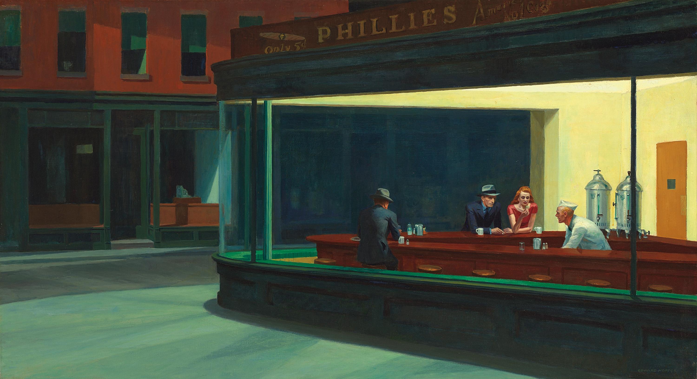 картина Эдварда Хоппера «Полуночники» вдохновение для Ридли Скотта Бегущий по лезвию