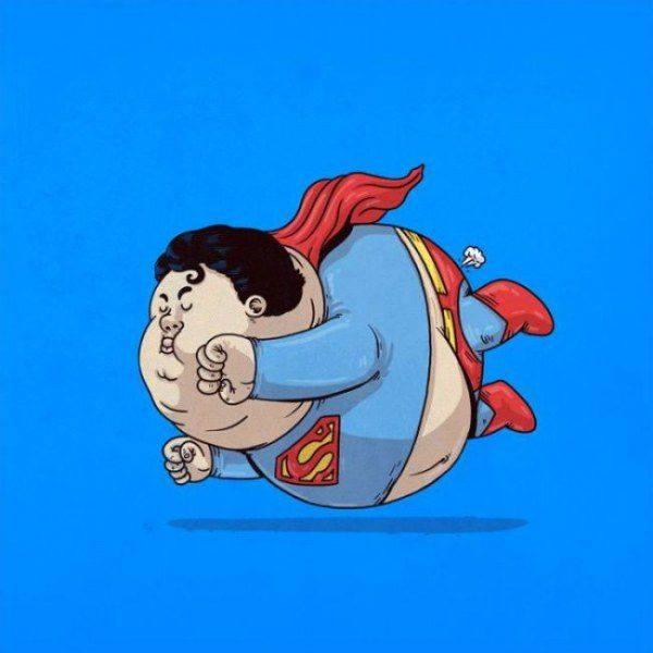 Толстые супергерои. Художник Алекс Солис. Супермен.