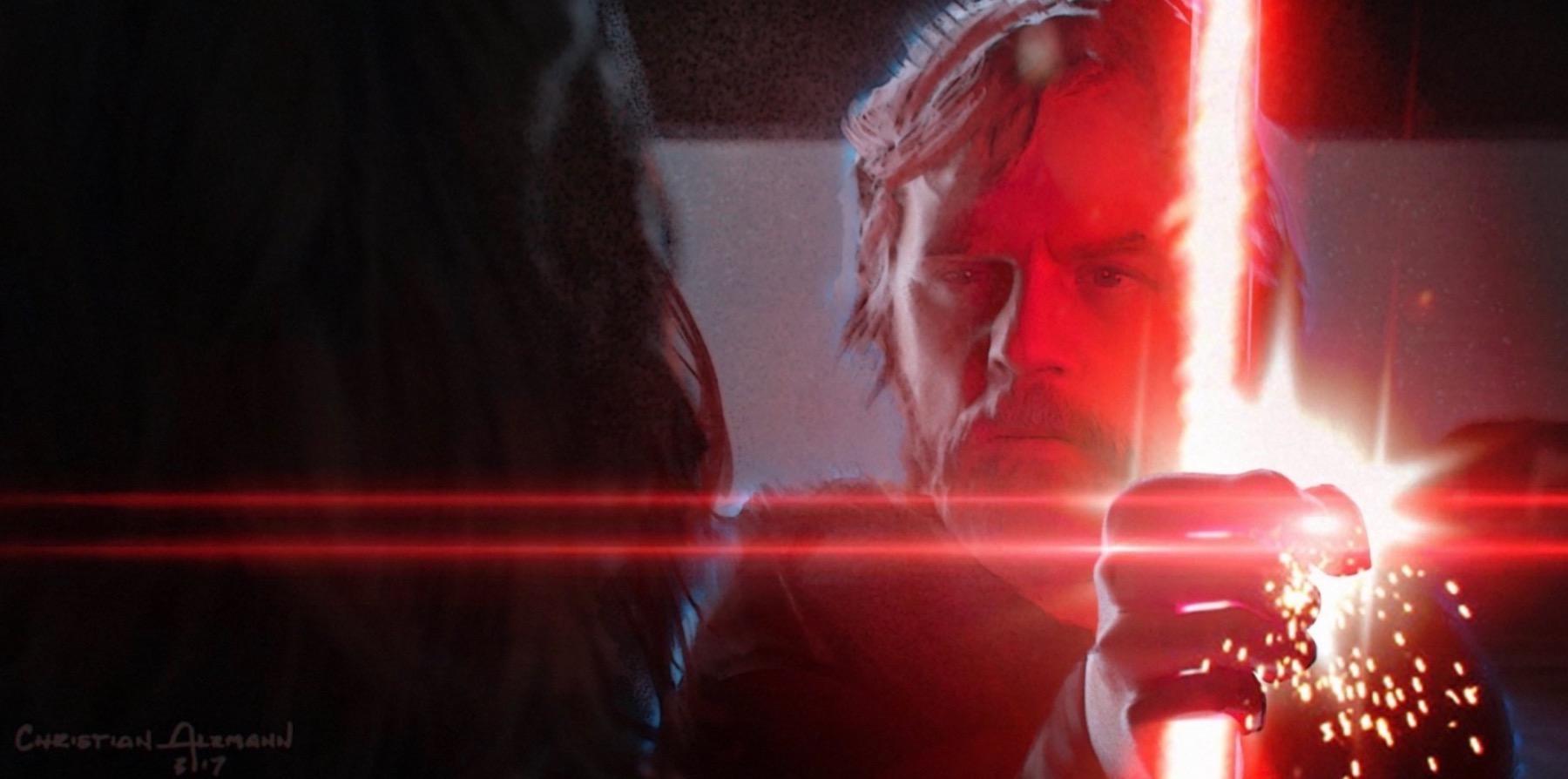 Колин Треворроу концепт-арты фильма Дуэль судеб Дух Люка блокирует меч Кайло
