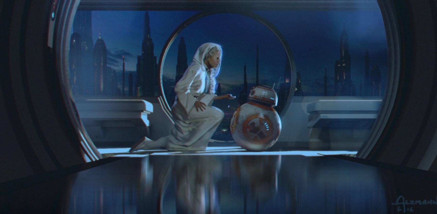 Колин Треворроу концепт-арты фильма Дуэль судеб Лея передает посланрие с дроидом BB-8