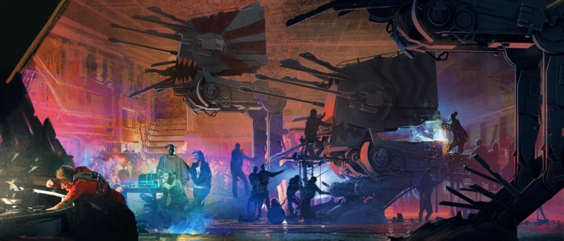 Колин Треворроу концепт-арты фильма Дуэль судеб Нижние уровни Корусанта, жители готовят старые шагоходы к атаке