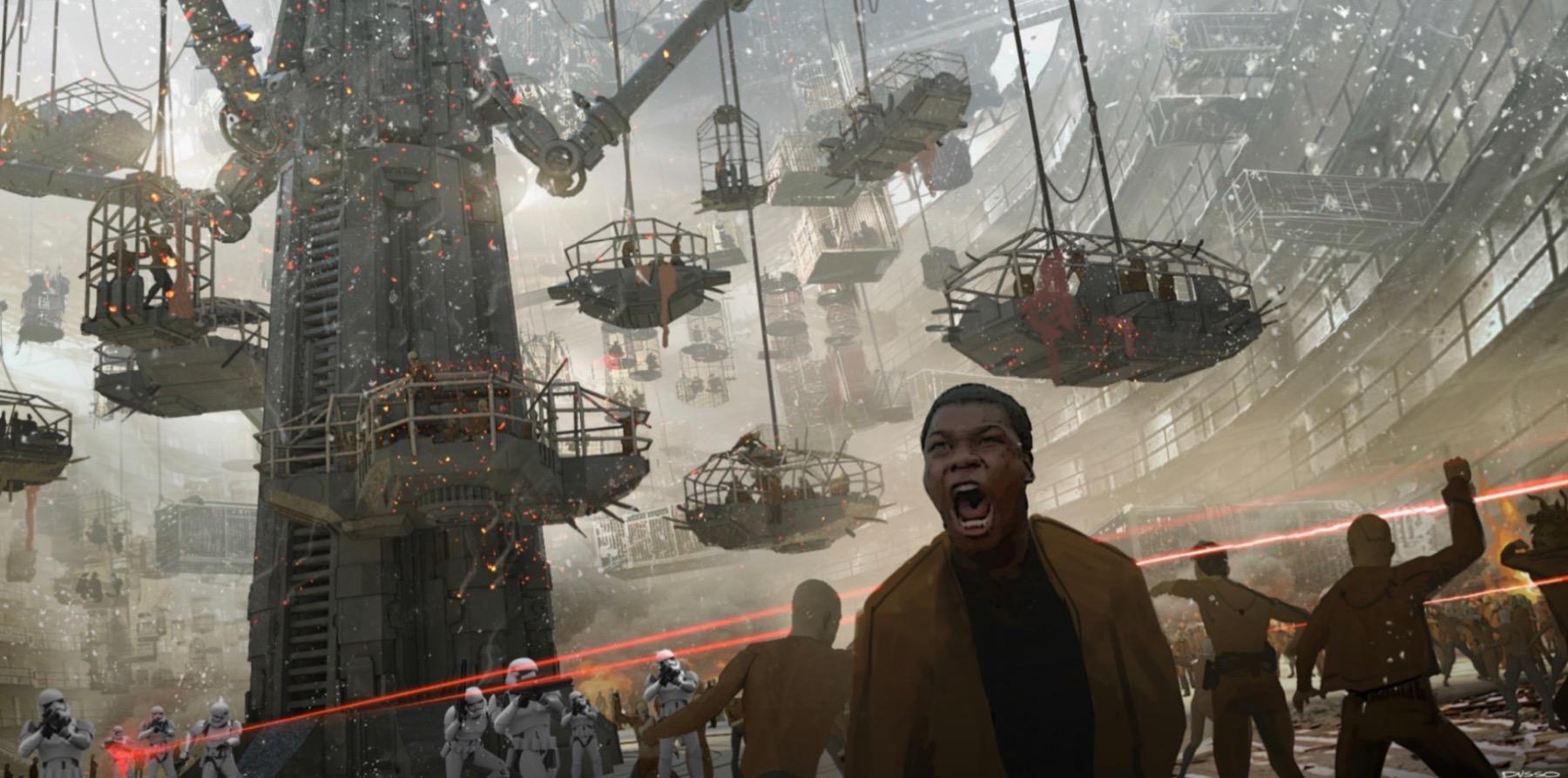 Колин Треворроу концепт-арты фильма Дуэль судеб Финн поднимает жителей нижних уровней Корусанта на восстание