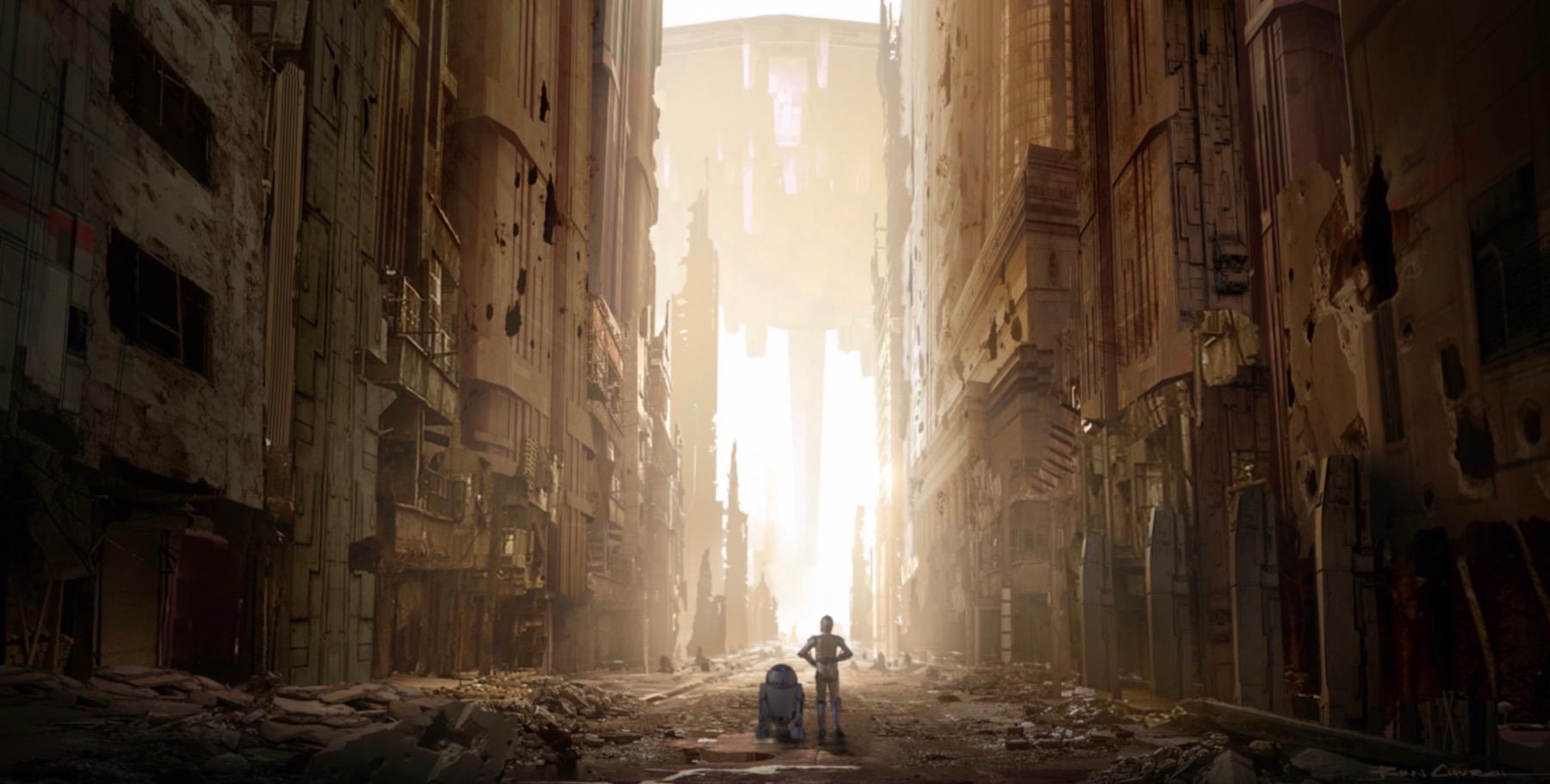 Колин Треворроу концепт-арты фильма Дуэль судеб C3PO и R2D2 на улицах Корусанта