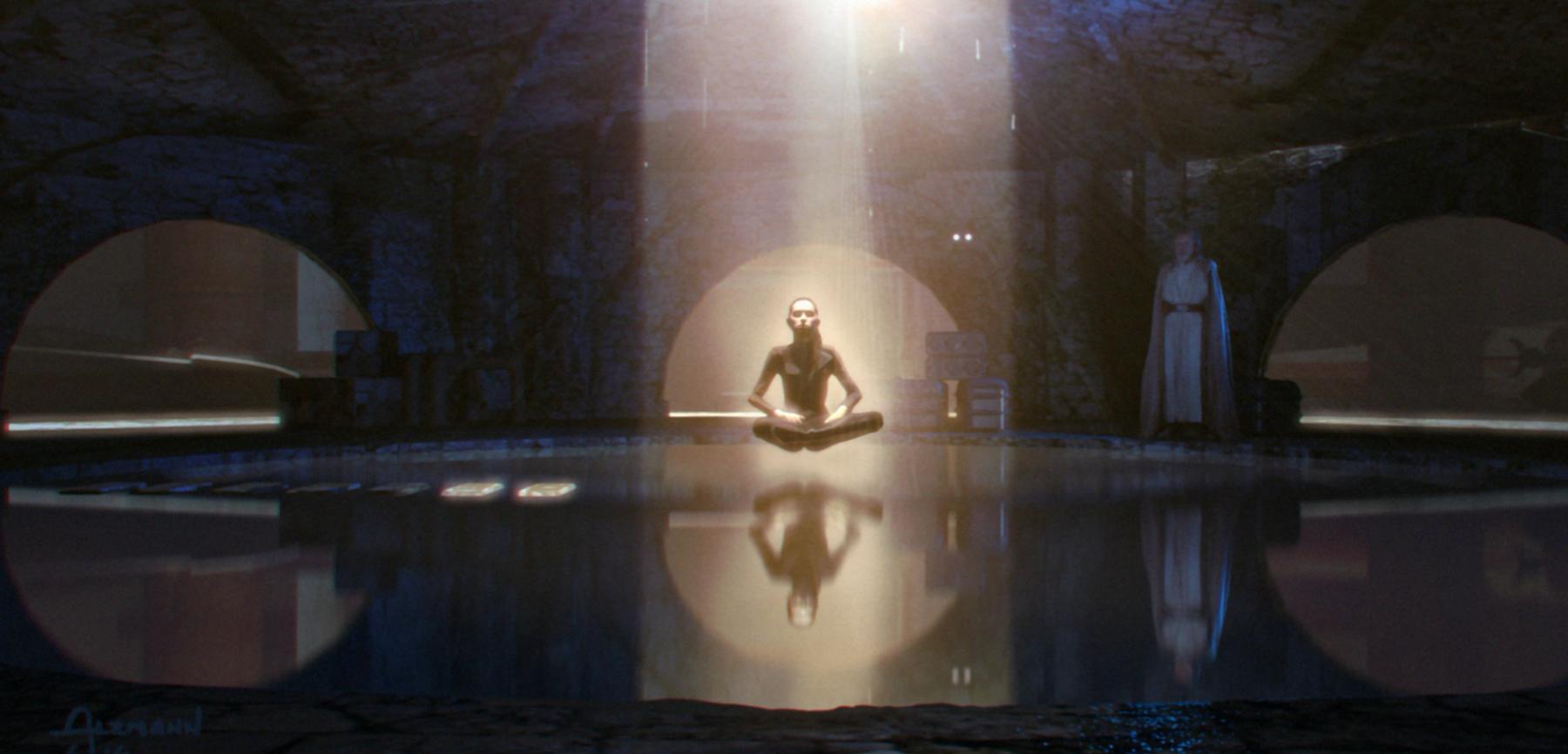 Рей тренируется с духом Люка на планете Коралев