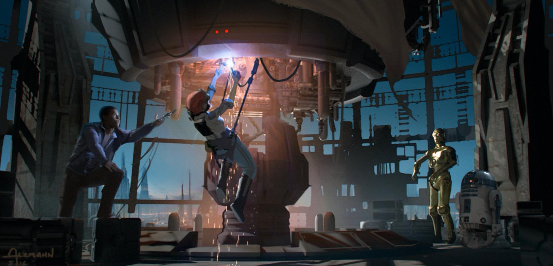Роуз, Финн, C-3PO и R2 пытаются активировать маяк на Корусанте, чтобы передать послание Леи
