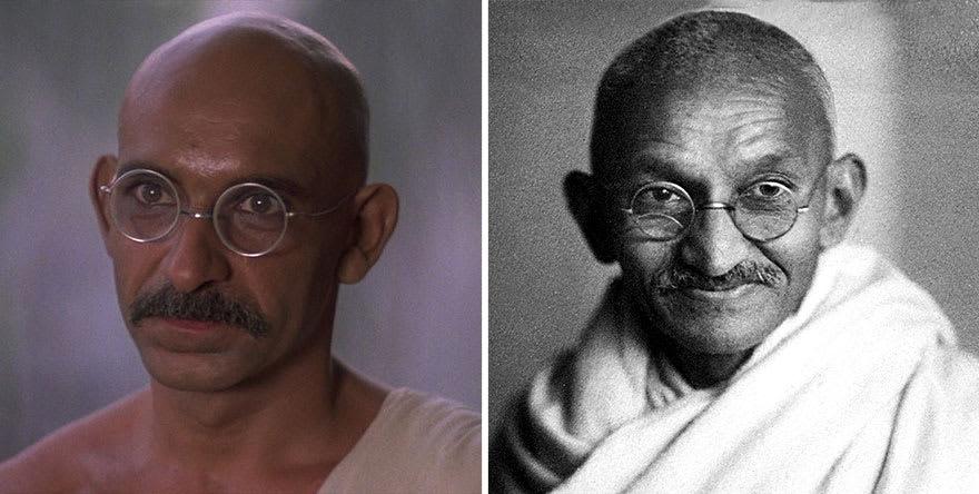 Бен Кингсли в роли Махатмы Ганди в фильме Ганди (Gandhi) 1982