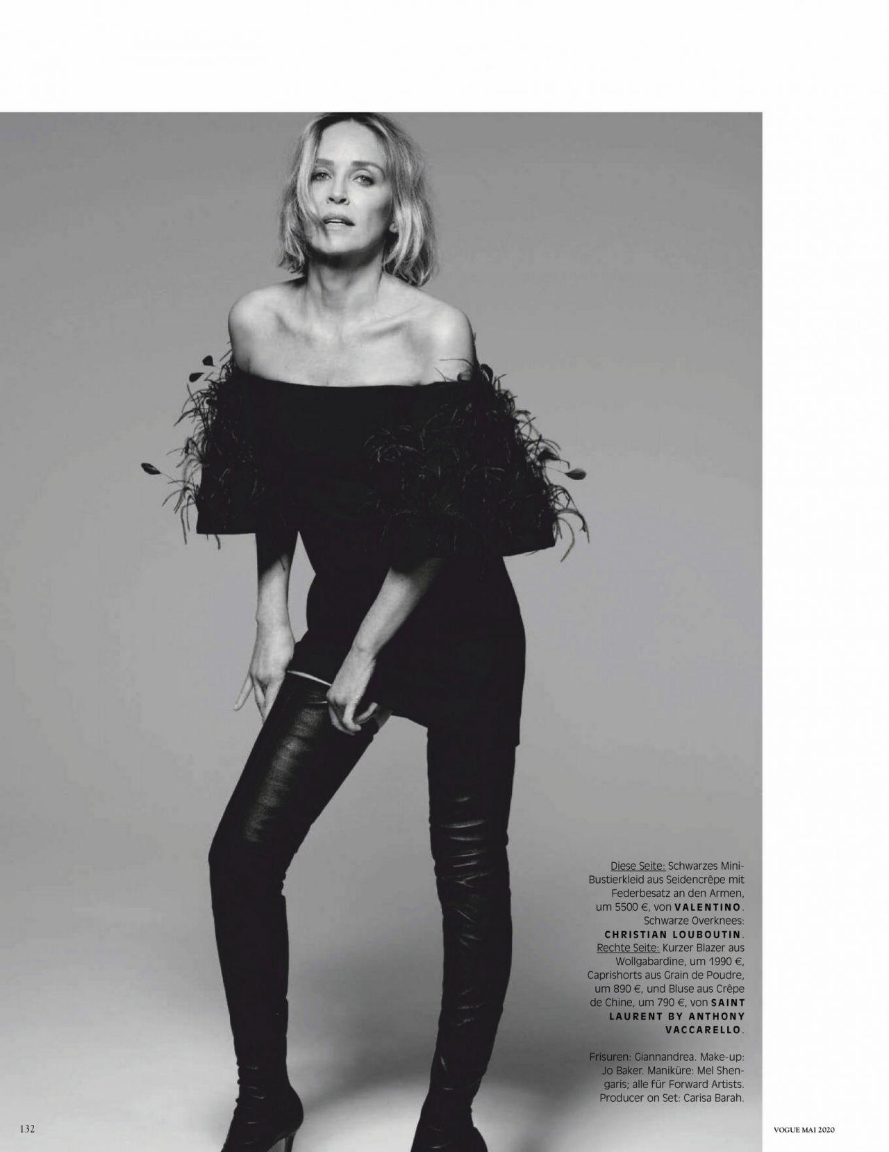 Шэрон Стоун Vogue Германия 2020 фотосессия сапоги