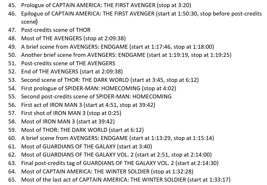 Marvel все сцены фильмов в хронологиечской последовательности